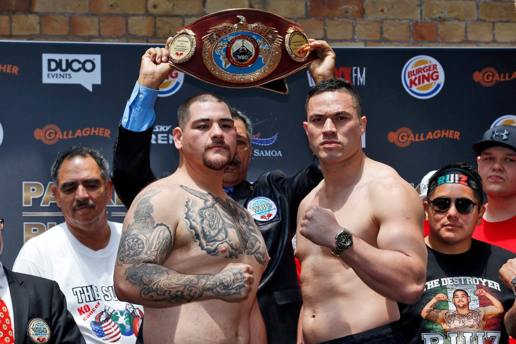 Andy Ruiz Jr (L) and Joseph Parker, Fighters weigh in before the December 10, Parker v Ruiz, WBO world boxing heavyweight title fight. Britomart Country Club, Auckland. 9 December 2016 / www.photosport.nz