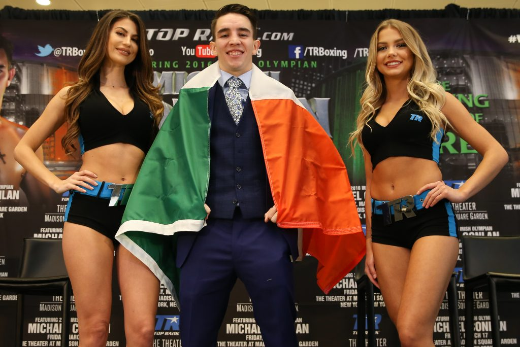 Jan 18, 2017; New York, NY, USA; Irish olympian Michael Conlan before the press conference announcing his professional debut. Conlan's pro debut, which will be as a junior featherweight, is set for Friday, March 17, 2017 -- St. Patrick's Day -- at the The Theater at Madison Square Garden in New York City. Mandatory Credit: Ed Mulholland/Top Rank